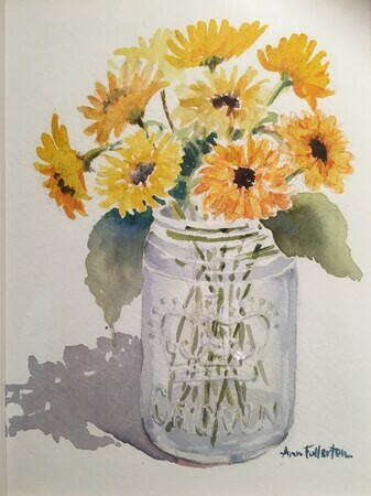 Mason Jar Yellow Coreopsis