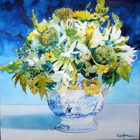 Garden Bouquet in Blue and White Vase