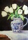 White Tulips in blue and white jug