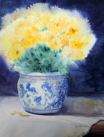 Yellow Mums in Blue and White Pot