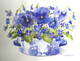 Pansies and Violets in Blue and White pot