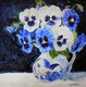 Blue and White Pansies in blue and white Jug