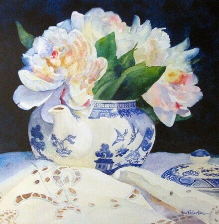 Peony Bouquet in Blue and White Teapot