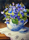 Spode Blue and White Teapot with Violets